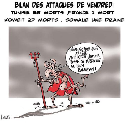 Bilan des attaques de Vendredi: Tunisie 38 morts, France 1 mort, Koweit 27 morts, Somalie une dizaine