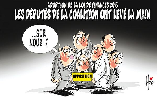 Adoption de la loi de finances 2016; Les députés de la coalition ont levé la main