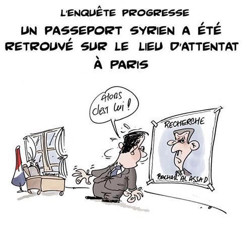 L'enquête progresse: Un passeport syrien a été retrouvé sur le lieu d'attentat à Paris - Lounis Le jour d'Algérie - Gagdz.com