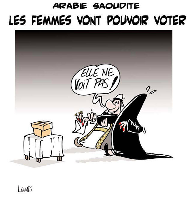 arabie saoudite les femmes vont pouvoir voter caricatures et humour. Black Bedroom Furniture Sets. Home Design Ideas