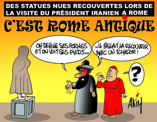 Des statues nues recouvertes lors de la visite du président iranien à Rome