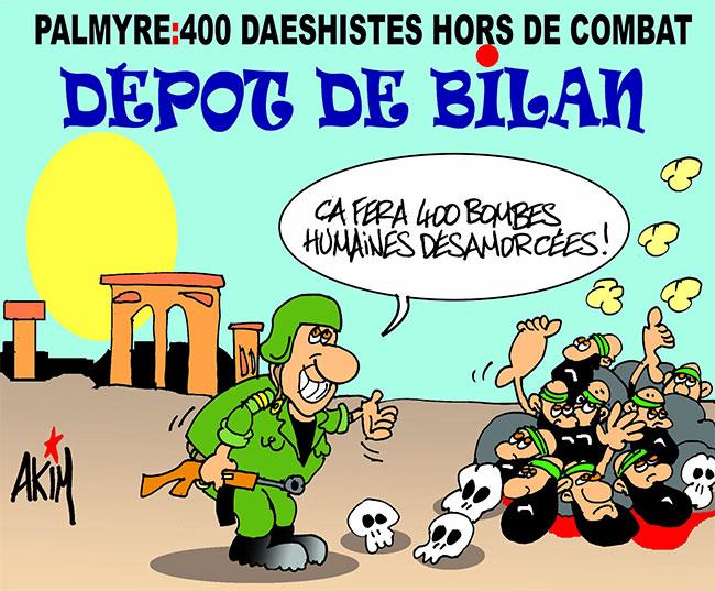 Palmyre: 400 daeshistes hors de combat
