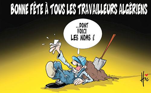 Bonne Fête à Tous Les Travailleurs Algériens Caricatures