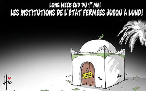 Long week-end du 1er mai: Les institutions de l'état fermées jusqu'à lundi