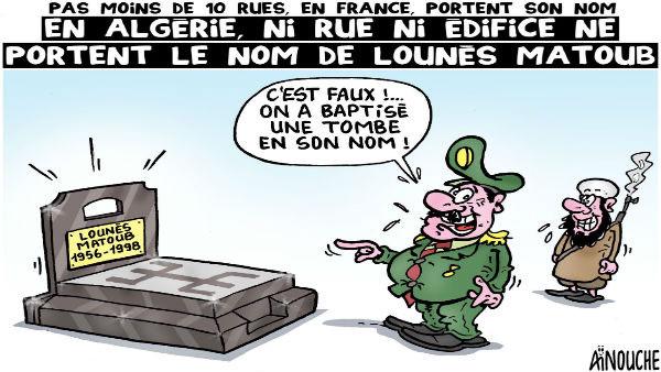 Pas moins de 10 rues en France portent son nom: En Algérie ni rue ni édifice ne portent le nom de Lounès Matoub