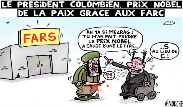 Le président colombien, prix nobel de la paix grâce aux farc