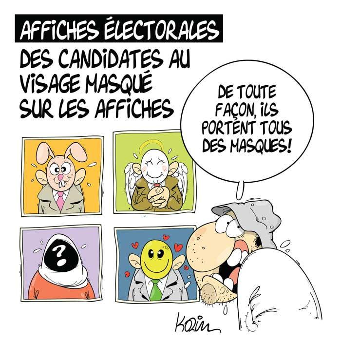 Affiches électorales: Des candidates au visage masqué sur les affiches