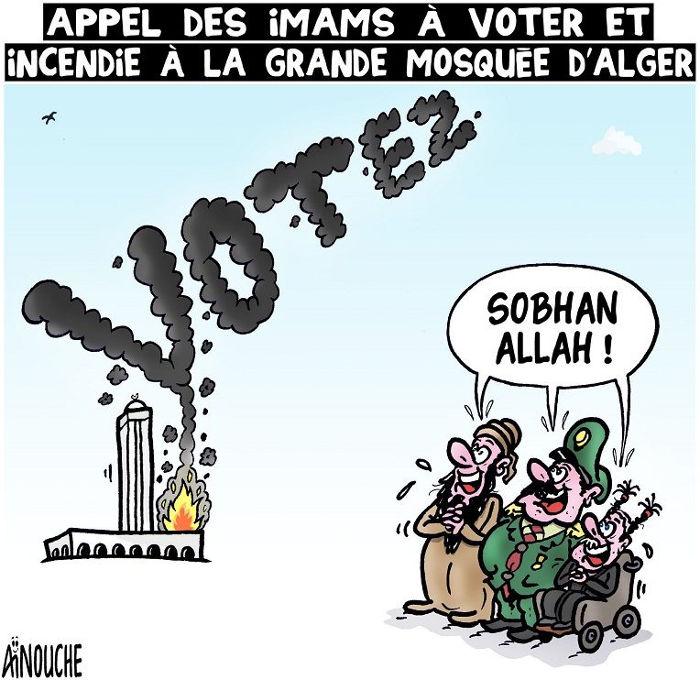 Appel des imams à voter et incendie à la grande mosquée d'Alger