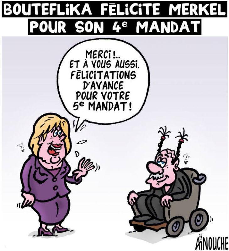 Bouteflika félicite Merkel pour son 4e mandat