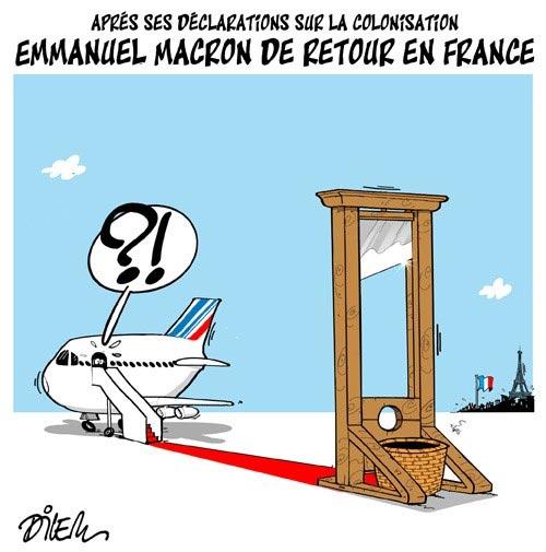Après ses déclarations sur la colonisation: Emmanuel Macron de retour en France
