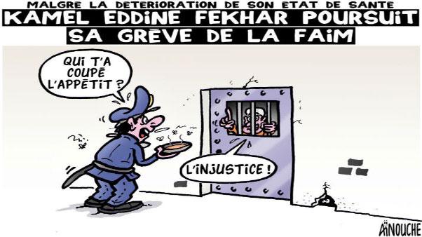 Malgré la déterioration de son état de santé: Kamel Eddine Fekhar poursuit sa grêve de la faim