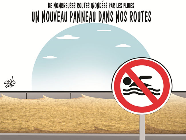 De nombreuses routes inondées par les pluies: Un nouveau panneau dans nos routes
