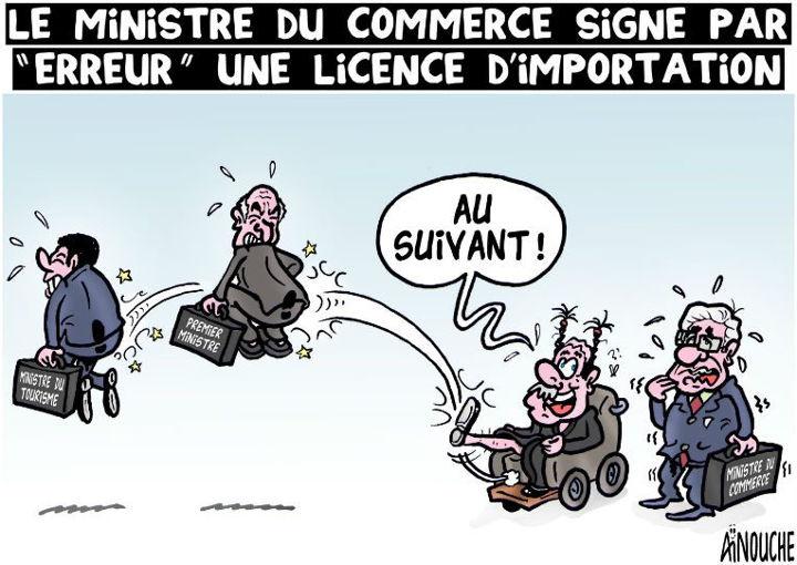 """Le ministre du commerce signe par """"erreur"""" une license d'importation"""