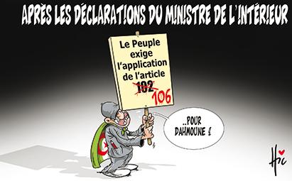 Après les déclarations du ministre de l'intérieur : le peuple exige l'application de l'article 102 - Dessins et Caricatures, Le Hic - El Watan - Gagdz.com