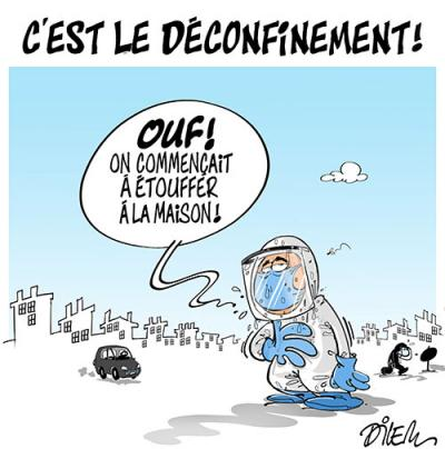 C'est le déconfinement : On commençait à étouffer à la maison ! - Dilem - TV5 - Gagdz.com