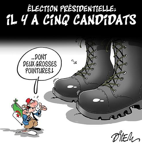 Election présidentielle en Algérie : Il y a cinq candidats - Dilem - Liberté - Gagdz.com