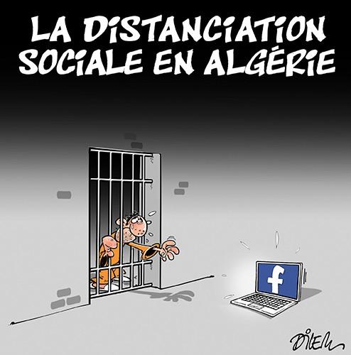 La distanciation sociale en Algérie - Dessins et Caricatures, Dilem - Liberté - Gagdz.com