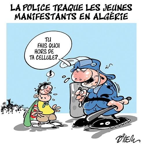La police traque les jeunes manifestants en Algérie - Dilem - Liberté - Gagdz.com