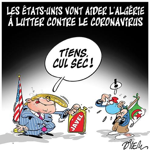 Les état-unis vont aider l'Algérie à lutter contre le Coronavirus - Dessins et Caricatures, Dilem - Liberté - Gagdz.com