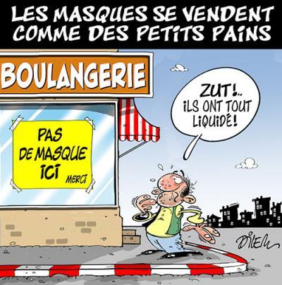 Les masques se vendent comme des petits pains - Dessins et Caricatures, Dilem - TV5 - Gagdz.com