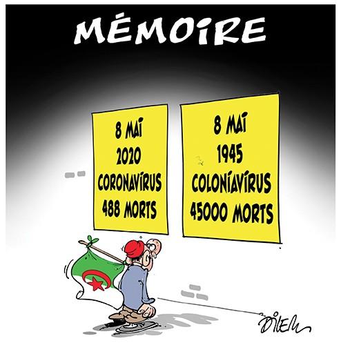 Mémoire : 8 mai 2020 coronavirus 488 morts. 8 mai 1945 coloniavirus 45000 morts - Dessins et Caricatures, Dilem - Liberté - Gagdz.com