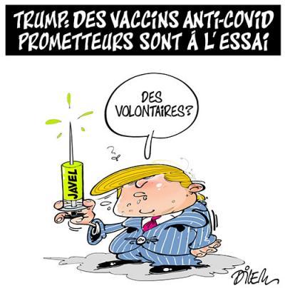 Trump : Des vaccins anti-covid prometteurs sont à l'essai - Dessins et Caricatures, Dilem - TV5 - Gagdz.com