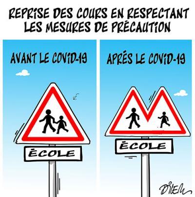 Reprise des cours en respectant les mesures de précaution : Avant et après covid-19 - Dessins et Caricatures, Dilem - TV5 - Gagdz.com
